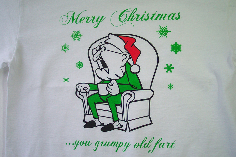 grumpy old fart 3 colour screen printed tee